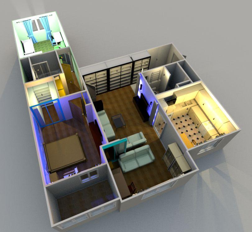 Перепланировка 3-х комнатной квартиры серии и-155н.